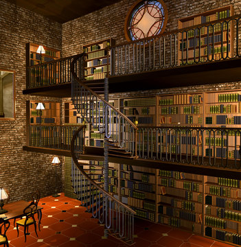 Steampunk old library
