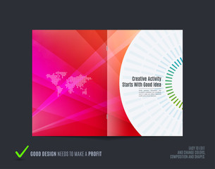 Abstract brochure design, modern catalog, centerfold cover, flyer in A4 with colourful rays