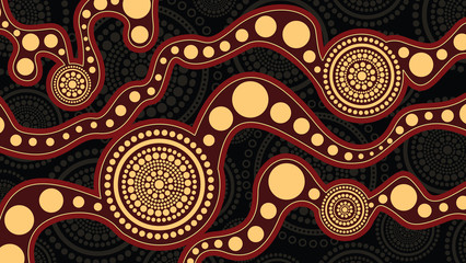 Aboriginal art vector background, Connection concept