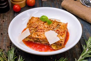Parmigiano eggplant on white plate