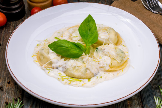 Italian ravioli with salmon