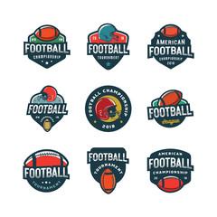 set of american football logos. sport emblems, badges. vector illustration