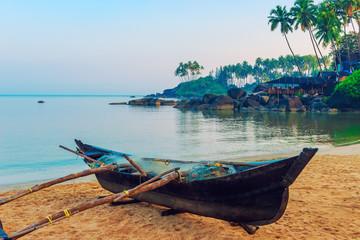 beautiful beach of Goa Palolem at dawn. Tinted.