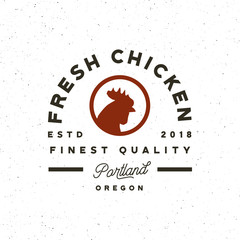 premium fresh chicken meat label. vector illustration