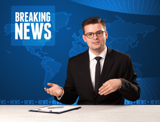 Television presenter in front telling breaking news with blue modern background concept