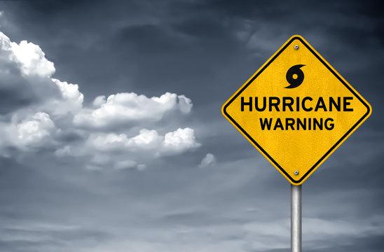 Hurricane warning road sign