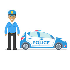 Vector police car side view and officer isolated on white with flashing light, siren