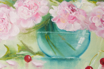 Flowers and cherries. Oil painting in pastel tones of peony and cherry.