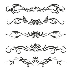 Vector ornamental dividers or borders in vintage style isolated on white background
