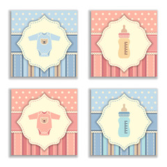 Happy birthday and baby shower greeting and invitation card.