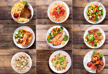 collage of various plates of meat, fish and chicken