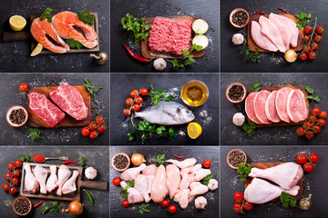 Printed roller blinds Meat collage of various fresh meat, chicken and fish