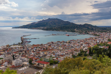 Aerial view of Zakynthos (Zante) town, Greece. Summer morning on the Ionian Sea. Beautiful cityscape panorama of Greece city. Traveling concept background.