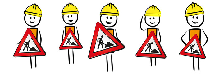 Männer mit Baustellenschildern