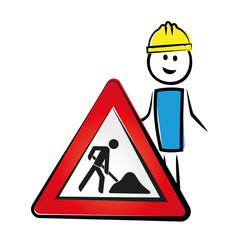Mann mit Baustellenschild