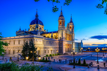 Night view of Cathedral Santa Maria la Real de La Almudena in Madrid, Spain