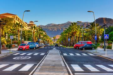 Avenue in Playa de la Americas on Tenerife, Canary Islands in Spain.
