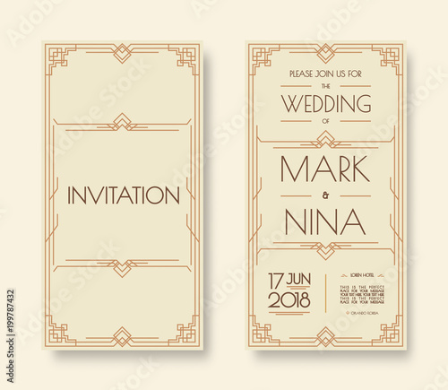 Wedding invitation template set art deco and arabic line style with wedding invitation template set art deco and arabic line style with frame gold color for greeting stopboris Images