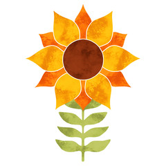 Hand painted watercolor growing sunflower and leaves
