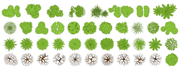 Poster de jardin Blanc Trees top view for landscape vector illustration.