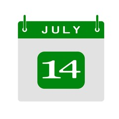 Calendar flat icon 14th of July. Vector illustration.