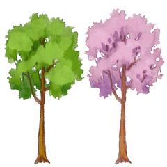 Watercolor trees set, summer, spring