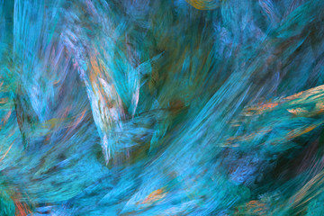 Abstract painted texture. Chaotic blue, orange and green strokes. Fractal background. Fantasy digital art. 3D rendering.