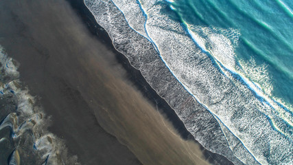 The black sand beach in Iceland. Aerial view and top view. Beautiful natural backdrop.