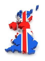 United Kingdom map with flag.