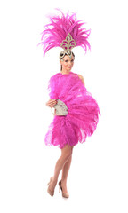 Beautiful girl in carnival costume with rhinestones and pink feathers on white background.