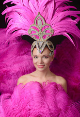 Poster Carnaval Beautiful girl in carnival costume with rhinestones and pink feathers.