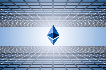 mixed image which are ethereum crypto currency and business building on vintage blue color