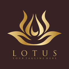 Golden Lotus and Luxury Logo Vector Template
