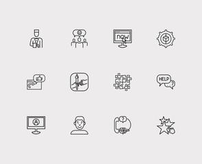 Customer service icons set. Teamwork and customer service icons with face, team and satisfaction. Set of elements including talk for web app logo UI design.