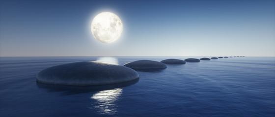Wall Mural - Steine im See bei Mondlicht