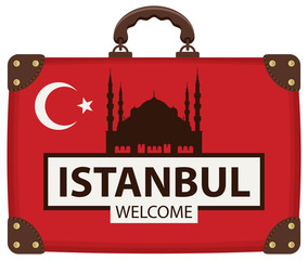 Vector travel banner with suitcase in colors of Turkish flag with the Hagia Sophia and inscription Istanbul welcome