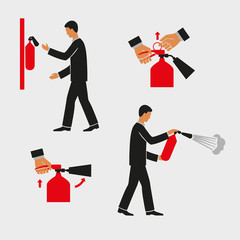 Figures for explaining the use of a fire extinguisher. Illustration of a simplistic man holding a fire extinguisher. Vector graphics