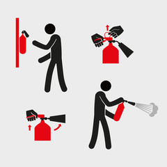 Figures for explaining the use of a fire extinguisher. A stylized simplistic man holds a fire extinguisher. Vector graphics