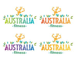 Logo. Stylized image of athletic kangaroos. Training Australian fitness club. Different color options. Vector graphics