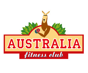Logo. Signboard. Kangaroo wring out the dumbbell. Australian fitness club. Vector graphics