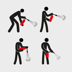 A stylized simplistic man holds a fire extinguisher. Different poses. Examples of using. Vector graphics