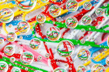 Poster de jardin Confiserie Color background with water drops and paper clips