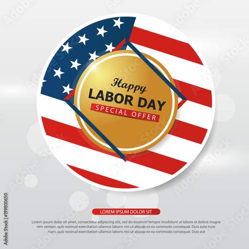 happy labor day american flag banner collections labor day flyer brochure ads template set