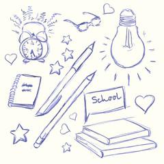 Hand drawn back to school. Alarm Clock, glasses, light, diary, pen, pencil, book, heart, star.