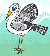 Card with decorative stork for your design.