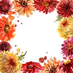 Cute watercolor flower frame with gerberas and chrysanthemum. Invitation. Wedding card. Birthday card