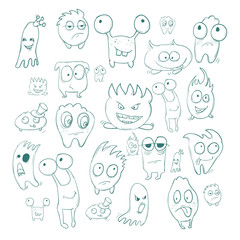 Contour funny monsters for Halloween holiday or your design. It can be used childrens books with fairy tales.