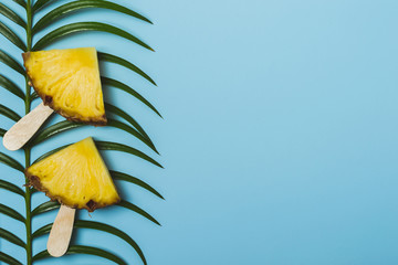 pineapple slices and palm branch on a blue background