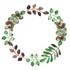 Watercolor floral wreath with green and brown branches