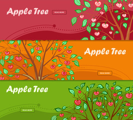 Three colorful banners with apple tree and place for your advertisement.